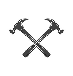 Two crossed hammers Black on white flat logo vector image