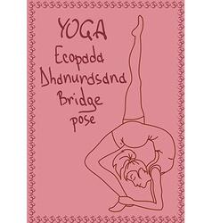 Outline girl in bridge yoga pose vector