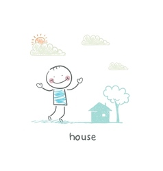 A man and a house vector image