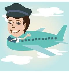 A pilot on an airplane above sky vector