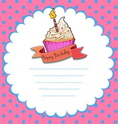 Border design with pink cupcake vector image