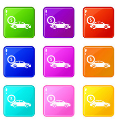 Car and dollar sign icons 9 set vector