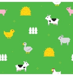 Cute farm pixel art seamless pattern vector