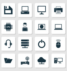 device icons set collection of printing machine vector image