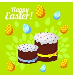 Easter greeting card with traditional cakes on a vector image vector image