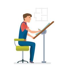 Engineer drawing of room design on scheme vector