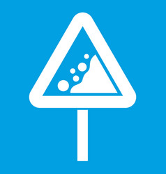 Falling rocks warning traffic sign icon white vector