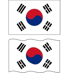 Flat and waving South Korea Flag vector image