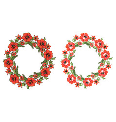 frame flowers poppy wreath vector image