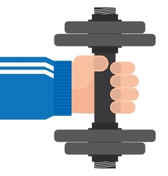 hand and dumbbell vector image vector image