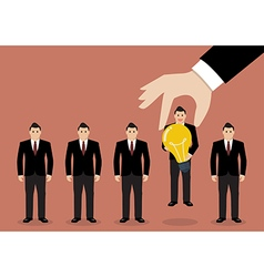 Hand choosing worker who has idea from group of vector image vector image