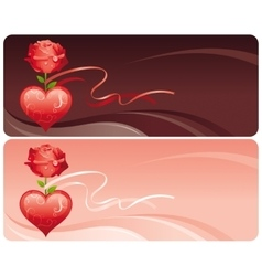 Happy valentines day banner set red ornament vector