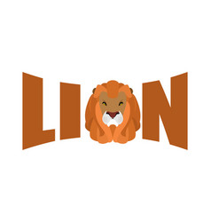 Lion logo leo emblem lettering head predator and vector