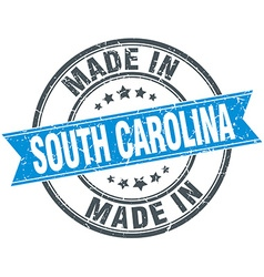 made in South Carolina blue round vintage stamp vector image vector image