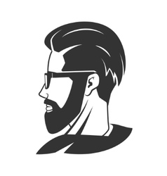 Man with beard hipster barbershop emblem vector
