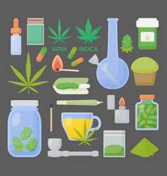 marijuana or cannabis flat icon set vector image