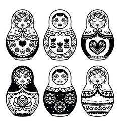 Matryoshka russian doll icons set vector