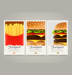 Modern colorful vertical fastfood banners food vector