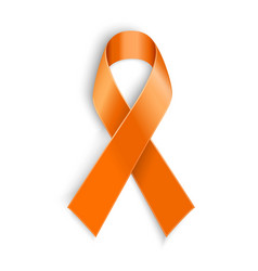 Orange ribbon on white background vector