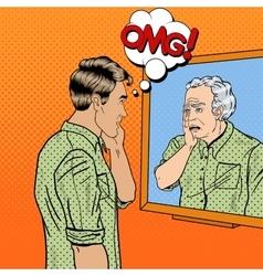 Pop Art Shocked Man Looking at Older Himself vector image vector image