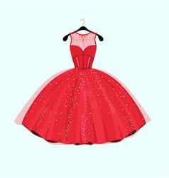Red long dress vector