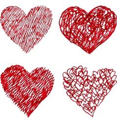 Red pen hand drawn hearts set vector image vector image