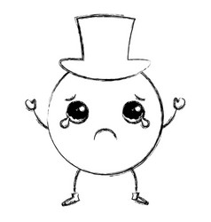 Sad emoticon with hat kawaii character icon vector
