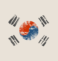 south korea flag grunge style vector image