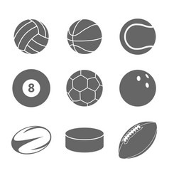 sport balls icon set on white background vector image vector image