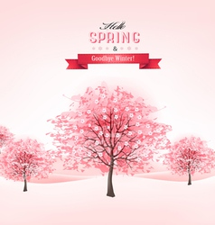 Spring background with blossoming sakura trees vector image