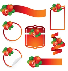 Strawberry Label Set vector image