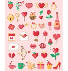Valentine icons in a flat style vector image
