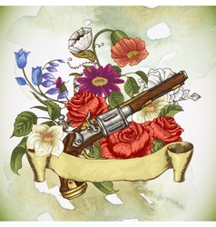 Vintage card with a gun and flowers vector