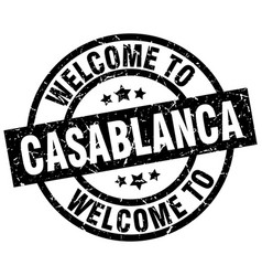 Welcome to casablanca black stamp vector
