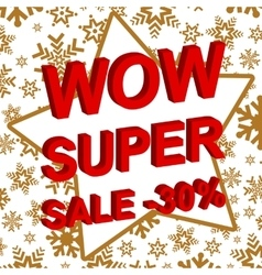 Winter sale poster with wow super sale minus 30 vector