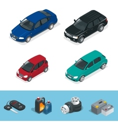 Car isometric tire service car auto repair icons vector