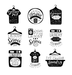 Laundry room black and white label set vector