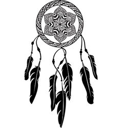 Line art of a mandala dreamcatcher vector