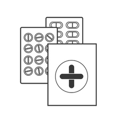 Contour silhouette with first aid kit and pills vector