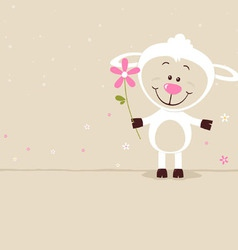 Lovely sheep with flower vector image