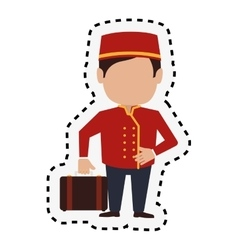 Bellboy character hotel service icon vector