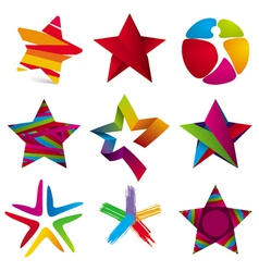 Collection of colorful stars signs vector