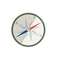Flat silver compass for traveler ui element for vector