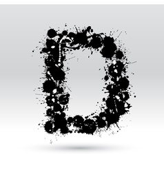 Letter d formed by inkblots vector
