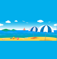 Relaxing sea lanscape seamless line vector