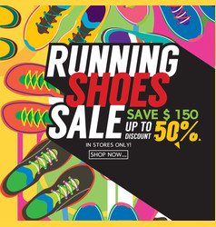 Running shoes sale banner vector