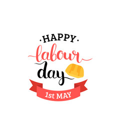 1st may lettering background happy labour vector