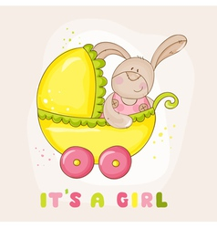Baby Bunny in Carriage - for Baby Shower vector image