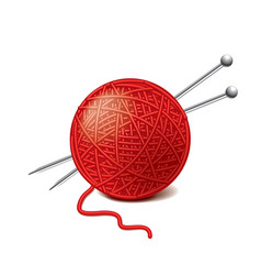 Yarn ball needles isolated vector