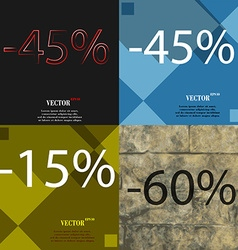 45 15 60 icon set of percent discount on abstract vector